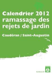 Calendrier 2012 ramassage des rejets de jardin - Bordeaux