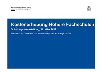 Kostenerhebung Höhere Fachschulen - SBBK