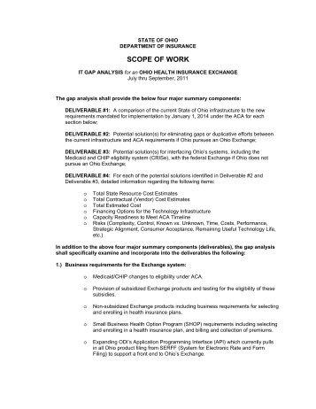 IT Gap Analysis Scope of Work - Ohio Department of Insurance ...
