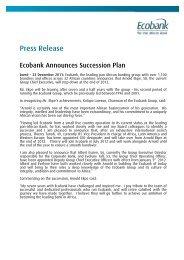 Ecobank Announces Succession Plan