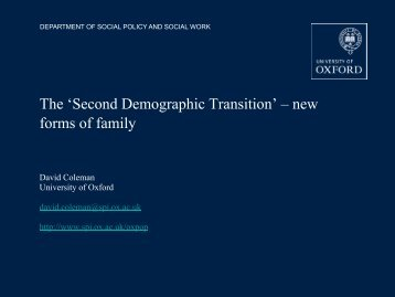 The 'Second Demographic Transition' – new forms of family