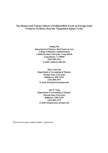 The Return and Volume Effects of Political-Risk Event on Foreign ...