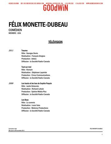 FÉLIX MONETTE-DUBEAU - Agence Goodwin