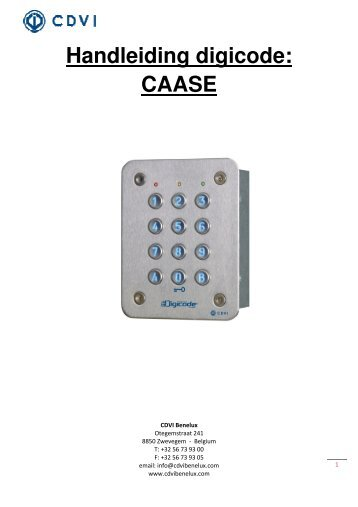 Handleiding digicode: CAASE - Easy catalogue
