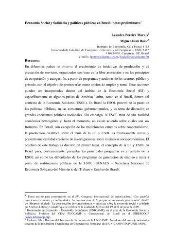 Economia social y solidaria y politicas publicas en Brasil.pdf