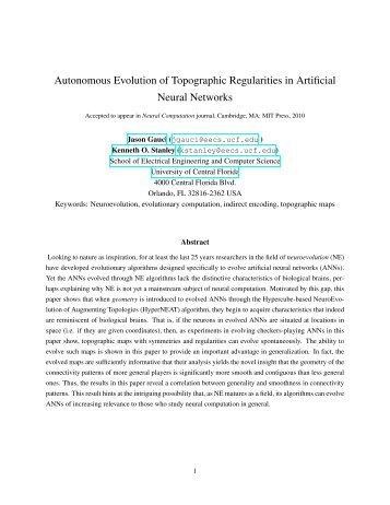 Autonomous Evolution of Topographic Regularities in Artificial ...