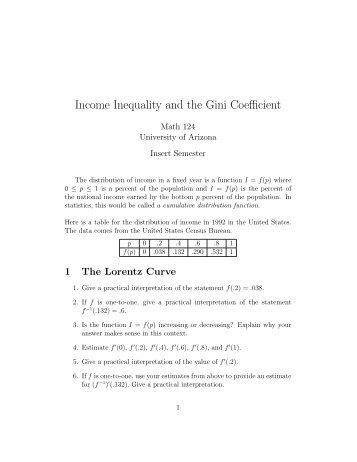 Income Inequality and the Gini Coefficient - University of Arizona