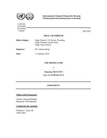 The Prosecutor v. Tharcisse Muvunyi Case No. ICTR ... - Refworld