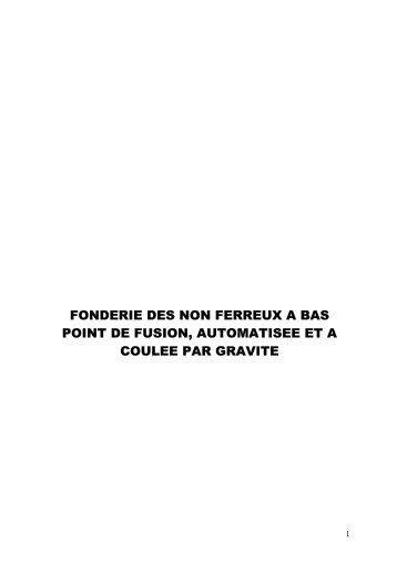 fonderie des non ferreux a bas point de fusion - Tunisie industrie