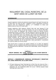 reglament del casal municipal de la gent gran - Ajuntament de Lloret ...