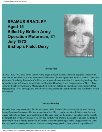 Operation Motorman - Seamus Bradley - CAIN