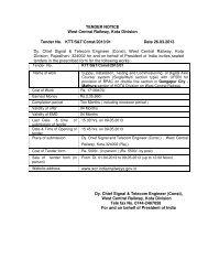 TENDER NOTICE West Central Railway, Kota Division Tender No ...