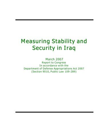 Measuring Stability and Security in Iraq - United States Department ...