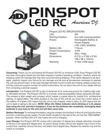 Pinspot LED RC SPECIFICATIONS: LED: 3W ... - American DJ