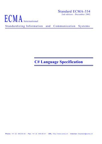 C# Language Specification - Willy .Net