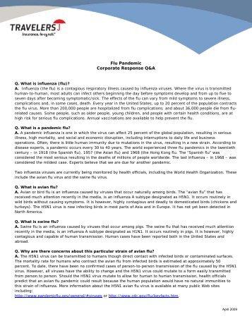 Flu Pandemic Corporate Response Q&A - Travelers Insurance