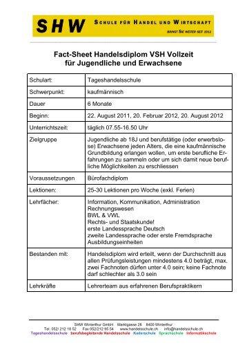 Fact-Sheet Handelsdiplom VSH Vollzeit für Jugendliche und ... - SHW