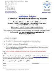 Application Surgery: Comenius 1 Multilateral Partnership Projects