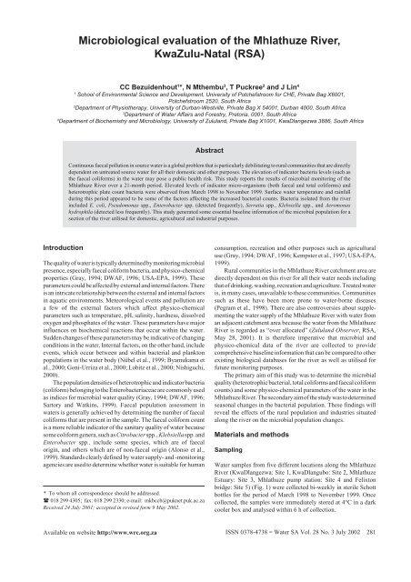 Microbiological evaluation of the Mhlathuze River, KwaZulu-Natal ...