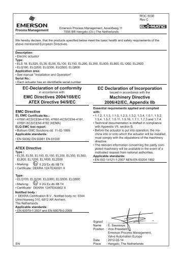 EC-Declaration of conformity EMC Directives 2004/108/EC ATEX ...