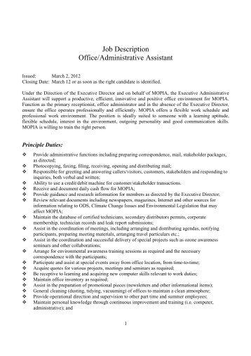 Job description for administrative support assistant ii - Job description for administrative officer ...