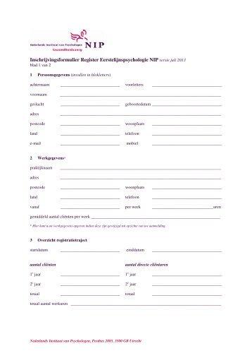 Inschrijvingsformulier Register Eerstelijnspsychologie NIP versie juli ...