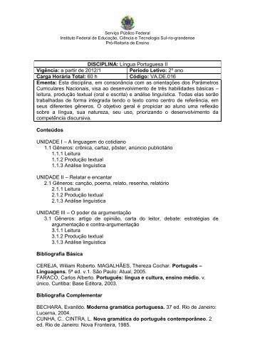 DISCIPLINA: Língua Portuguesa II Vigência: a partir de 2012/1 ...