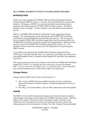 Instructions and description of the DMCE - Advanced Distributed ...
