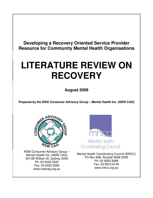 literature review on recovery - NSW Consumer Advisory Group