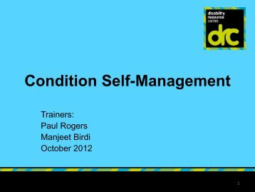 Condition Self-Management - Birmingham Disability Resource Centre