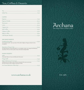 Teas, Coffees & Desserts - Archana