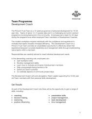 Team Programme - The Prince's Trust