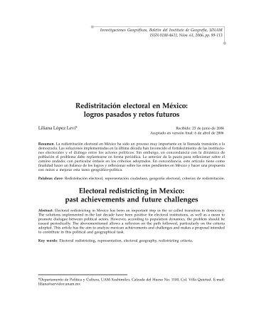Redistritación electoral en México - Instituto de Geografía - UNAM