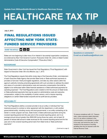 Final Regulations Issued Affecting New York State-funded ... - Withum