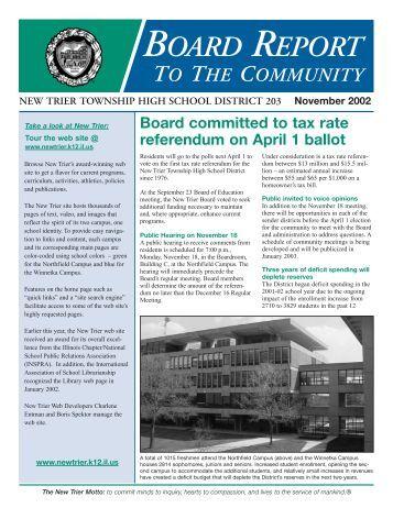 Board Report November 2002 - New Trier Township High School