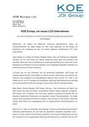 KOE Europe, ein neues LCD Unternehmen