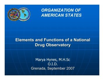 Elements and Functions of a National Observatory on Drugs - cicad ...