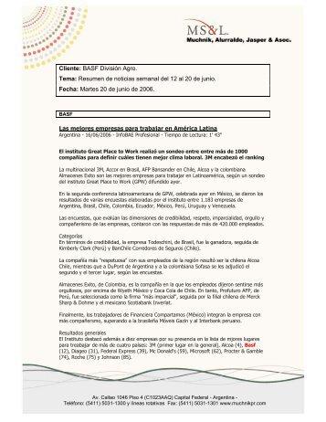 Cliente: BASF División Agro. Tema: Resumen de noticias semanal ...