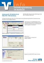 Umstellungsanleitung VR-NetWorld - VR Bank Rhein-Neckar eG