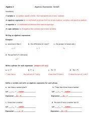 Algebra I Algebraic Expressions Notes!!! - Sharyland ISD