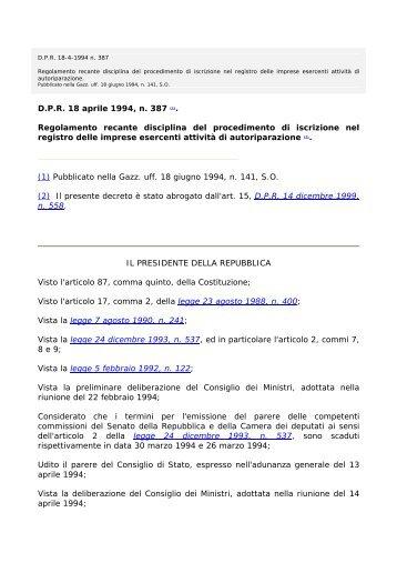 Regolamento recante disciplina del procedimento di iscrizione nel ...