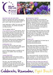 RELAY FOR LIFE HAMILTON • 3-4 MARCH 2012 REGISTRATIONS ...