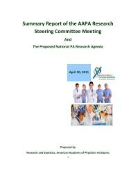Summary Report of the AAPA Research Steering Committee Meeting
