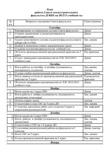План работы Совета землеустроительного факультета