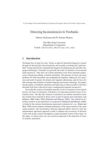 Detecting Inconsistencies in Treebanks - Department of Linguistics