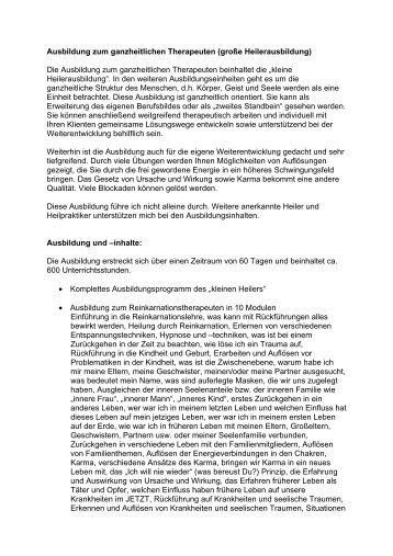 Ausbildung zum ganzheitlichen Therapeuten (große ...