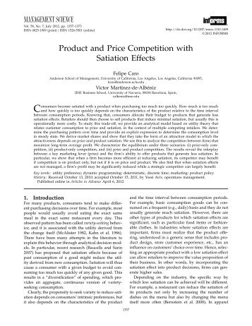 Product and Price Competition with Satiation Effects