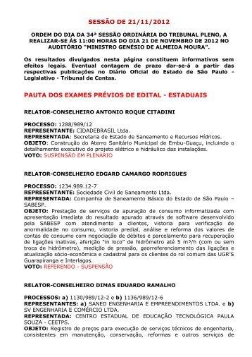 sessão de 21/11/2012 pauta dos exames prévios de edital - estaduais
