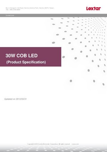 30W COB LED (Product Specification) - Welt Electronic