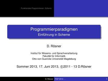 Einführung in Scheme - Otto-von-Guericke-Universität Magdeburg